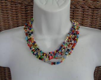 Multi Colored Multi Strand Necklace