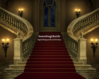 Castle Grand Staircase Light and Dark Digital Background