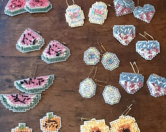 Mixed Holidays Cross Stitch Earrings /needlepoint/ Great for Nurses or Teachers/ Kitsch