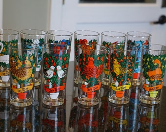 Vintage 12 Days of Christmas Glasses/Set of 11/ Anchor Hocking Pepsi/ Indiana Glass/ Christmas Glases/ Cocktail Glasses