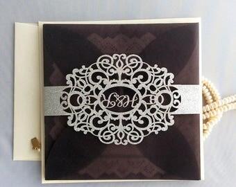 V85 Personalized Named Laser Cut Belly Band Silver Glitter Black Vellum  Pocket Wedding Invitation Free Shipping