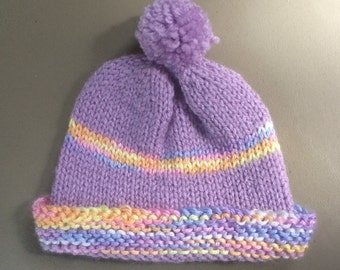 Purple Hand Knitted Hat, Girls Hat, Knitted Baby Hat, Knitted cap, Purple hat, Baby to 6 Months, Knitted Hat, Purple Pom Pom Hat for Baby,