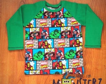 Comic book stripe raglan size 3t