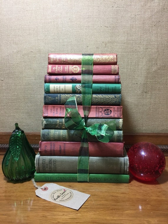 Xmas GREEN and Red Vintage Book Collection - Old Books Decoration - Foot Long 11-13 Shelf Staging - Xmas Home Decor - Custom Sourced Books