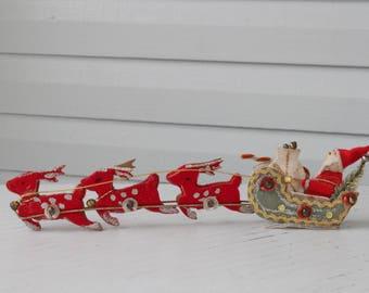 Very Detailed Vintage Santa in Sleigh with Reindeer-Made in Japan Sticker-Rare