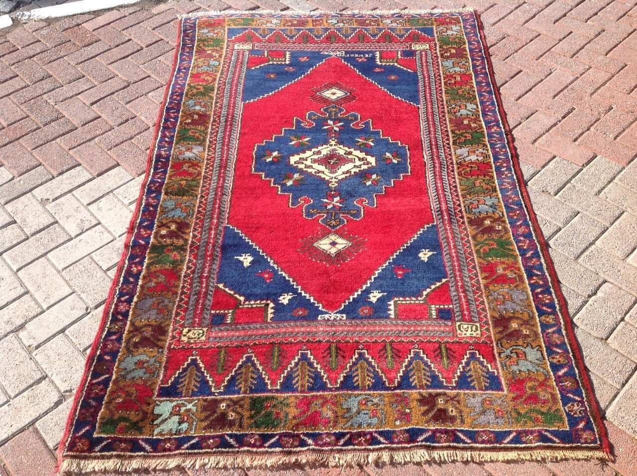Red Bohemian Rug Area Rug Vintage Rug Traditional Anatolian