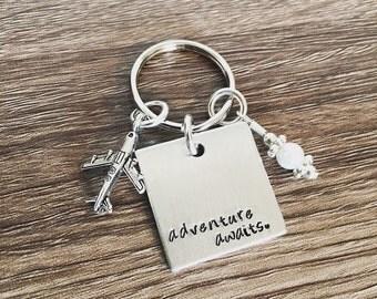 Adventure awaits key chain / hand stamped key chain / travel key chain / airplane charm keychain / pilot / flight attendant key chain gift