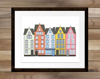 Row of German Houses, Home Decor, European Street Print, Scandinavian style, Living Room Wall Art, INSTANT DOWNLOAD