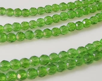 "Transparent Green 4mm Faceted Round Glass Beads (11"" Strand)"