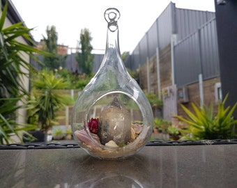 Phantom quartz crystal in glass vessel
