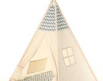 Maison en coton pour enfant crèche tipi. Tente de menthe - gris de chevron. Les enfants jouent maison en bois. Jouer lit maison en bois. Tipi pour enfant, lit tipi enfant
