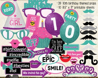 Photo Booth Props, HAPPY 10TH BIRTHDAY, printable sheets, instant download, purple, pink, teal, turquoise