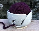Handmade, Stoneware, Wheel-Thrown, Hand-Carved, Dots Textured, Yarn Bowl in Palest Blue-Gray Glaze