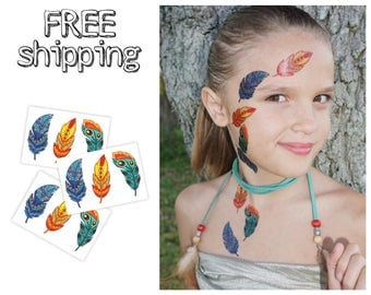 Set of 3 tatts «Boho». Kids temporary tattoos with Bohemian feathers. Playdate and party bag supply. TT182