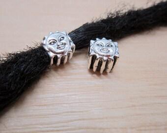 2PCS Sun Silver Dreadlock beads dread Hair Braid Jewelry Accessories 4.8mm hole