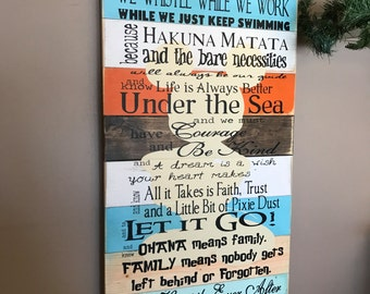 Disney Quotes Planked Wood Family Rules