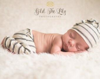 RTS Gray Stripe Newborn Baby Boy Photo Pant and Knot Hat Set