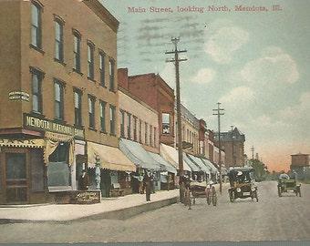 Vintage Postcard 1908, Main Street Scene, Looking North, Mendota, Illinois, IL