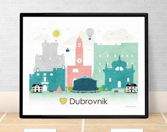Dubrovnik poster print Wall art Dubrovnik skyline Croatia Europe City poster Printable download Home Decor Digital Print GreenGreenDreams