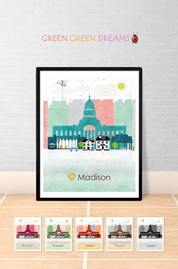 Madison Print Poster Wall Art Madison Wisconsin Madison