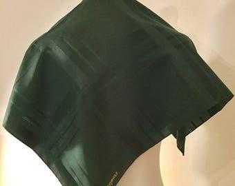 Silk Square Scarf. Jacqmar. Emerald Green. 1970's