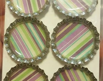 Purple and Green Striped Bottle Cap Magnets