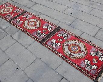 "Vintage Turkish Oushak Runner Rug, Handmade Anatolian  Hallway Wool Turkish Red Runner Rug, Red Oushak Wool  Rug Runner 315x55cm,126""x22"""