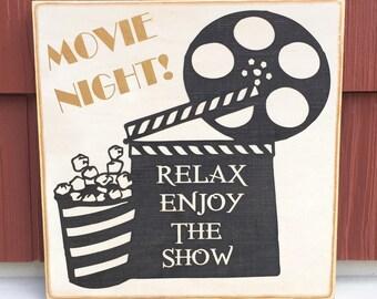 "Rustic Wood Sign - Movie Night - 12"" x 12"""