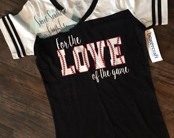 For The Love Of the Game(ALL sport letters available)Boxercraft VNeck Tee,Sport Mom,Baseball,Football,Volleyball,Softball, Soccer,Backetball