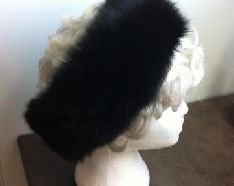 Vintage Fur Head Band - Black Rabbit Fur - Womens Lined Winter Head Band - Velcro Closer - Great Gift for Her