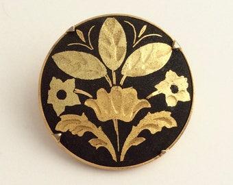 Vintage Gold Plated Damascene Brooch