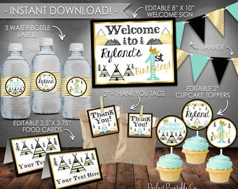 Wild One Party Pack Package, Party Kit, Birthday Bundle, Black Teal Mint Gold, Tribal Teepee Boy, Printable, Instant Download, Editable #615