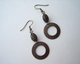 Antiqued brass earrings, Vintaj brass earrings, brass hoop earrings, brass filigree bead, brass bead drops, bronze Boho earrings, Boho hoops