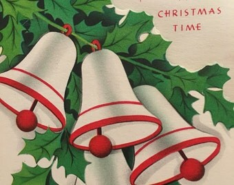 Vintage Christmas Card Mother 1950s Unused Bells and Holly NOS