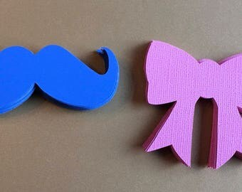 Blue Mustaches and Pink Bows, Gender Reveal, Tags, Party decoration. He or She.