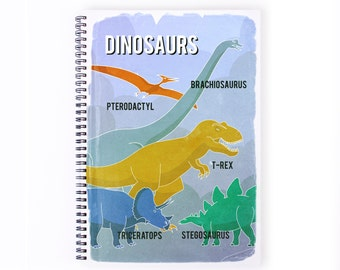 Notebook Personalise - Dinosaurs, Stationery, Recycled Paper, Sketch book, Boys, Blank Paper, Notebook, Colouring Book, Personalize