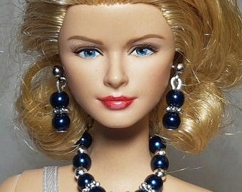 Red, metallic blue or navy blue jewelry for Barbie and other fashion dolls
