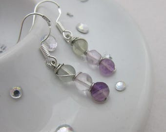 Fluorite (Green + Purple) Beads Wire Wrap Dangle Earrings with Sterling Silver Hooks, Mothers Day, Gift For Her , Trinity Collection