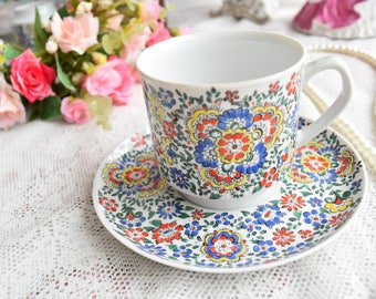 Tea cup and saucer hand painted vintage porcelain coffee cup tea cup Chodziez Poland porcelain tea cup and saucer