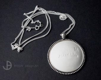 Chain Skyline Hamburg H, porcelain matt, 76 cm silver 925/version antique Silver