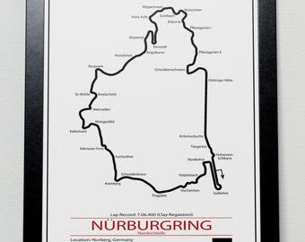 Nurburgring Grand Prix Track illustration Poster