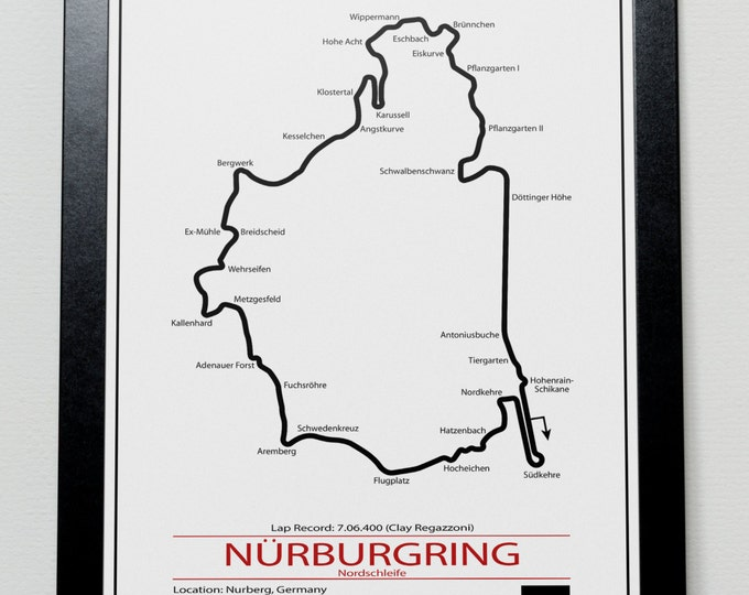 Featured listing image: Nurburgring Grand Prix Track illustration Poster
