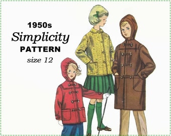 Simplicity s39 s.39 Sewing Pattern - 1950s Children's Coat Sewing Pattern - Boy's Girl's Child's Duffle Coat with Hood - Size 12 Chest 30