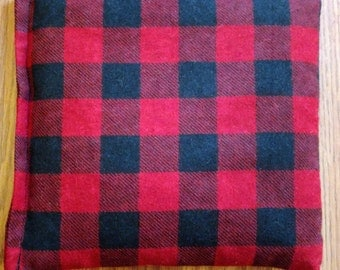"""Corn Heating Bag- Red and Black Plaid Heating Pad- Ice Pack- Microwavable - Freezable- Approx 8"""" x 10"""""""