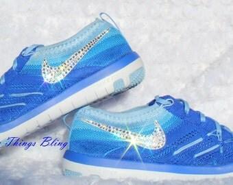Woman's Nike Free TR Focus Flyknit W/Swarovski Crystals - Racer Blue/White-Bluecap