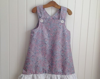 Toddlers Girls  Summer Paisley Party Dress Overall. Bottom frills, shoulder straps.