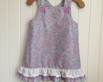 Size 18 mths Toddlers Summer Paisley Party Dress Overall. Bottom frills, shoulder straps.