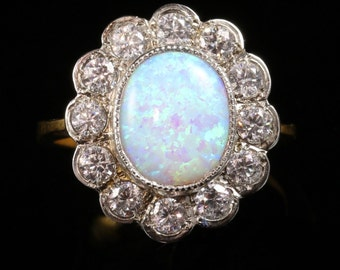Opal Paste Cluster Ring