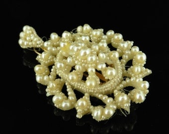 Georgian Large Natural Seed Pearl Pendant With Mop Back