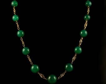 Antique Victorian Gold Necklace Green Quartz Stones Circa 1880 French